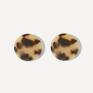 Acrylic Tortoise Shell Round Stud Post Earrings